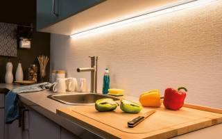 Как закрепить светодиодную ленту на кухне